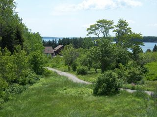 Trenton cabin photo - View from the deck: stairs to the sea are just past the cabin.