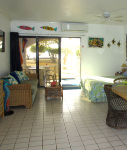 View of tropical decorated condo.
