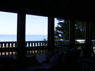 Traverse City house photo - View out front windows to deck on the bay