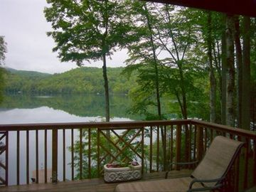 Lake Nantahala house rental - Enjoy an unobstructed view of the sunset from your large private deck