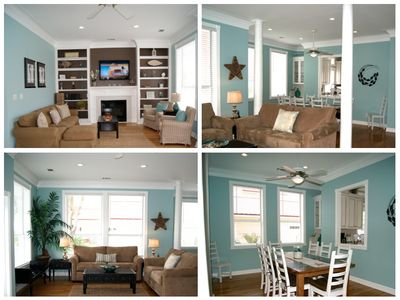 Collage of Living, den & dining areas