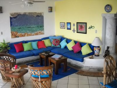 Colorful tropical colors in comfortable living area