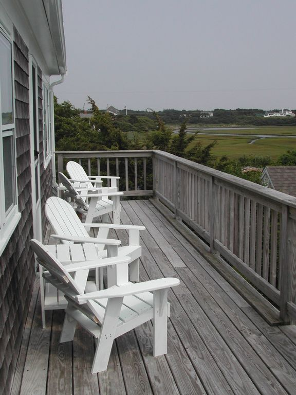 Rear 2nd Floor Deck with views of Nantucket Sound and marsh