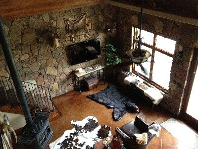 Partial view of Main Living area from loft above (showing bear & cowhide rugs).