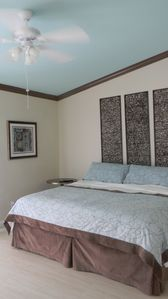 Las Vegas house rental - Master bedroom with cathedral ceiling/private bath. King bed + rollaway