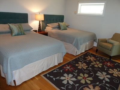 Front Main Floor Bedroom with 2 Queen Beds and Private Bath