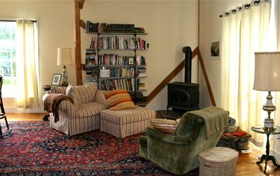 Cozy Living Space to read, relax and stay warm by the fire.