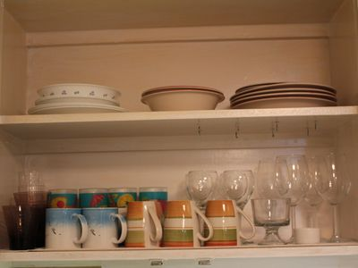 Dishes, plates, cups, glasses, bowls, pots, pans, baking dishes, utencils