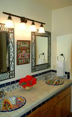 Luxurious master bath with Mexican tile throughout - Taos house vacation rental photo