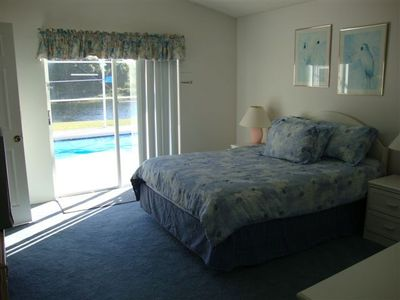 master bedroom opening onto the pool area