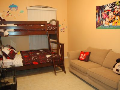 Hampton Lakes villa rental - Mickey Themed Room - Bunk Beds (Full over twin) with Sitting and Gaming (Wii