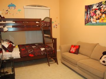Mickey Themed Room - Bunk Beds (Full over twin) with Sitting and Gaming (Wii