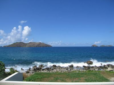 St Barthelemy villa rental - View from the master bedroom with the waves crashing on shore.