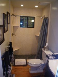 Downstairs bathroom with natural stone double shower.