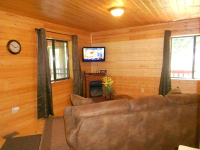 Pigeon Forge cabin rental - Living Room with HD TV, fireplace, Queen sleeper, Wi-Fi, etc.