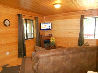 Pigeon Forge cabin photo - Living Room with HD TV, fireplace, Queen sleeper, Wi-Fi, etc.