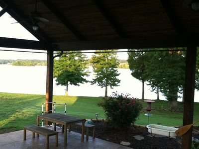 View from back deck under patio pavillion