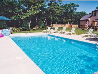 Chilmark house photo - Lovely in ground pool with lounge chairs and umbrellas for shading.