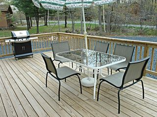 22' by 11' Deck with Gas Grill, Views of Wildlife and Very Private! - Towamensing Trails chalet vacation rental photo