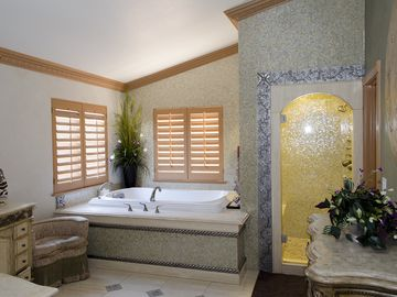 Master bathroom with large tub and steam shower.