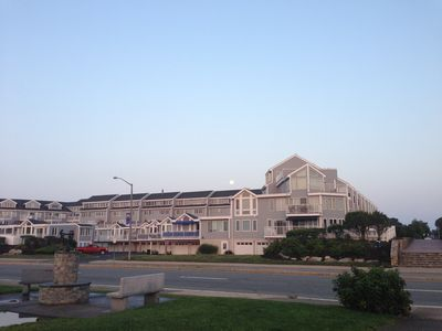 Morning view of Condo Complex from Narragansett Town Beach