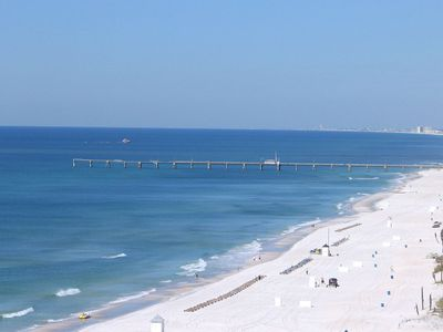 Beautiful view of clear blue water & sugery white sand toward west end of PCB.