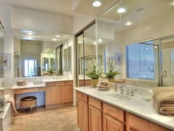 Master Ensuite, separate bath tub and huge shower, him and her sinks