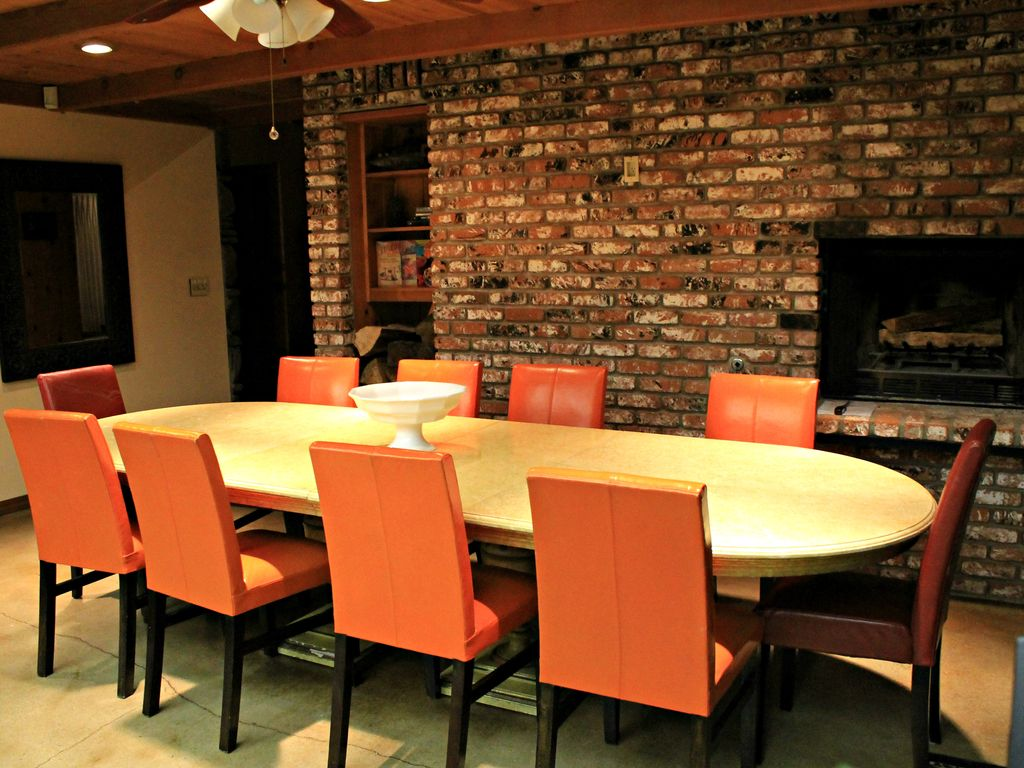 Warm Orange Leather Dining Chairs