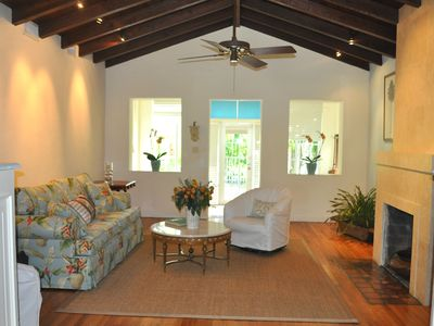 Living room with original Dade Pine vaulted ceilings