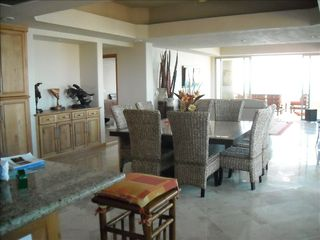 Nuevo Vallarta condo photo - flow thru from kitchen, to dining room, living room and outside terrace