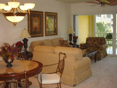 Relax and enjoy Tropical views from the tastefully decorated living room.