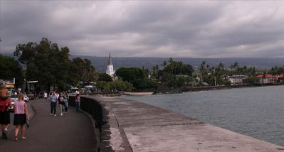 Walk 2 blocks along the waterfront from the Kona Reef to Kona's many shops