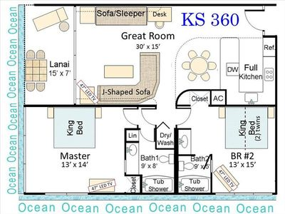 KS 360 Floorplan (1,078 s.f.)comfortable for two couples plus up to 3 others