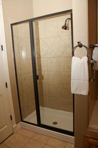 Walk In Tile Showers - Bronze Fixtures