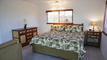 Downstairs bedroom area - With a comfortable King sized bed, the downstairs suite will feel like home.