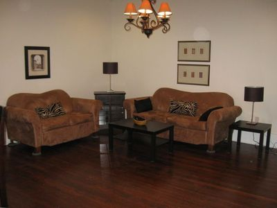 Living Room - Beautiful Hardwood Floors - New Comfortable Furniture