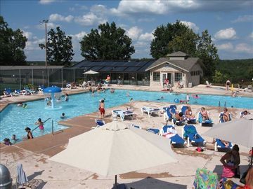 Large outdoor pool w/ fountains. Indoor heated pool open year round!