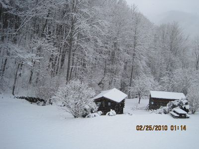 Bryson City cabin rental - A white Christmas from the cabin.