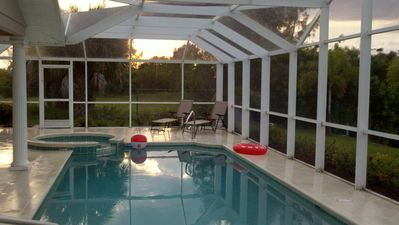 Cape Coral house rental - Sunset on the pool deck