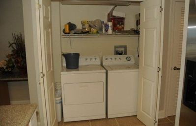 The unit has it's own full size Washer and Dryer.