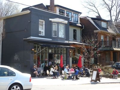 popular coffee shop, on Broadview Avenue with views of park and city