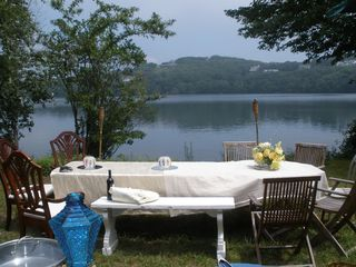 Dennis Village house photo - Dine on property's lakefront with view of Scargo Hill and Tower