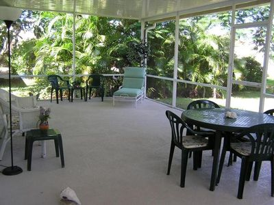 A large (450 sq ft), open, and airy lanai for lounging and dining outdoors.