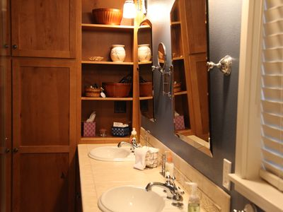 Main level: Master bath has double sinks.