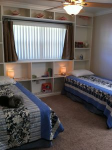 Bedroom with 2 twin beds - great for kids! Pack & play in closet.