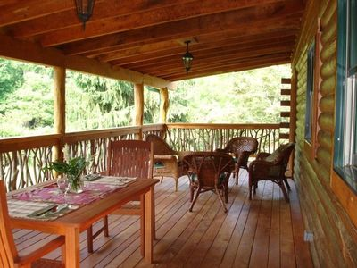 Divine large covered deck for dining and relaxing.