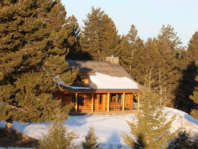 Log cabin in the foothills of the Crazy Mountains with spectacular views.
