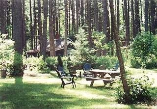 Kezar Lake cottage photo - Back yard with firepit and picnic table