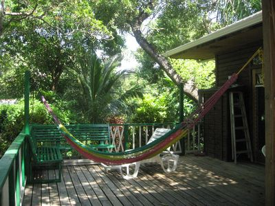 Plenty of room on the deck to relax , take a nap in the hammock or read a book.