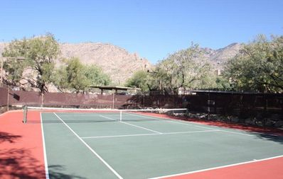 Community Tennis Courts. Lighted at night.
